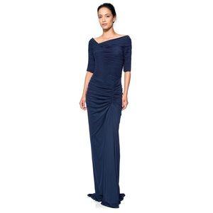 {Tadashi Shoji} Asymmetric Ruched Sleeve Gown Navy